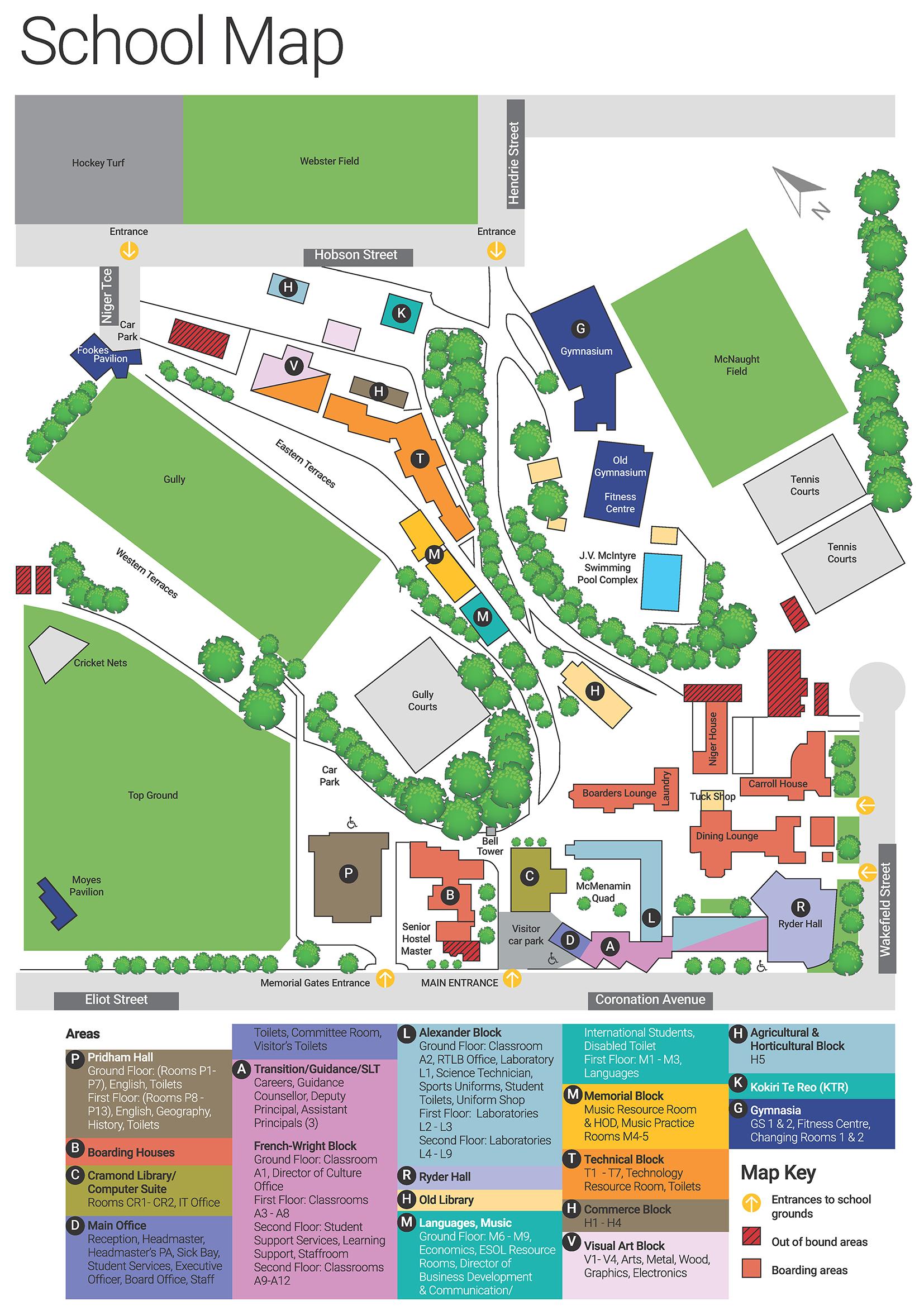 Map - New Plymouth Boys' High School